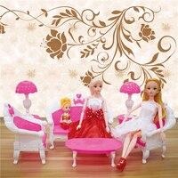 6 шт./лот кукла Пластик Мебель Винтаж Диван Настольная лампа Аксессуары для кукол Барби Кукла для девочек подарок на день рождения малыша ку...