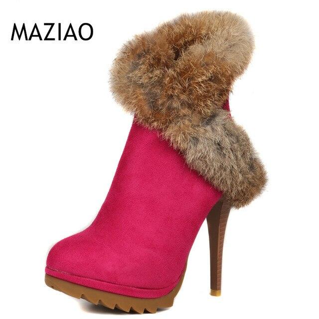 best sneakers 86b88 b79ef US $26.0 |Frauen Stiefel Plattform High Heels Winter Stiefel Damen Schuhe  Sexy Stiletto Stiefeletten Kaninchen Fell Schuhe Schwarz Grün in Frauen ...