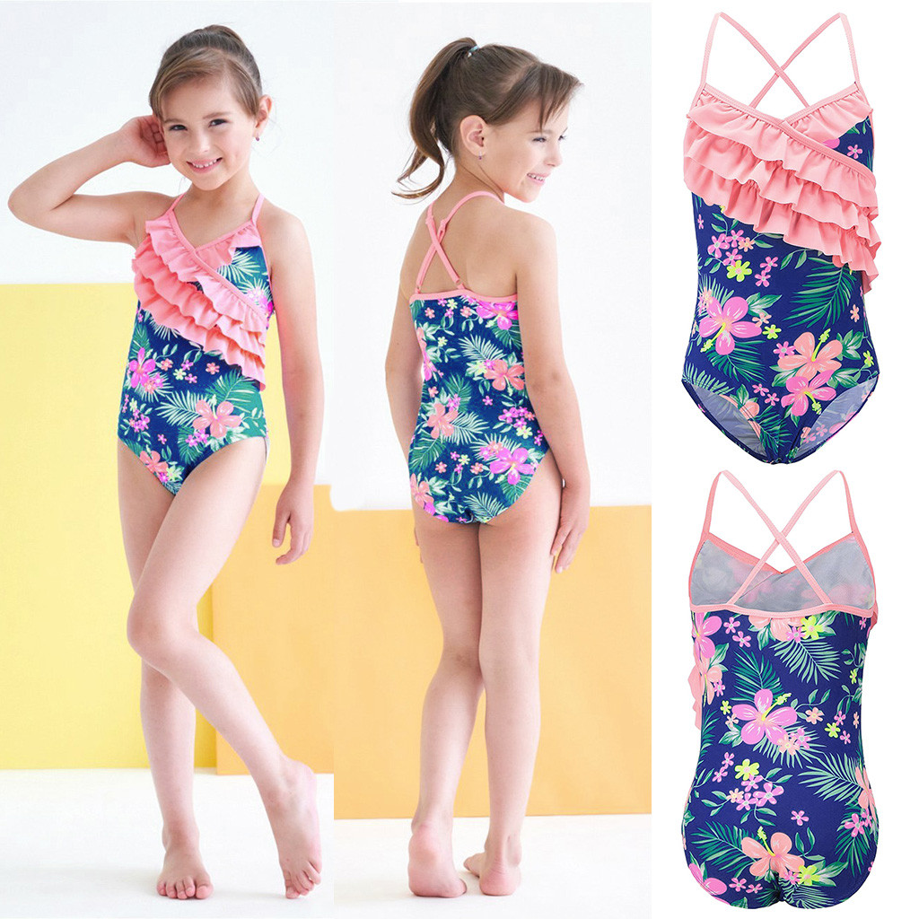 FM/_ UK/_ KIDS BABY GIRL BIKINI RUFFLED SOLID COLOR SWIMSUIT SWIMWEAR BATHING SUIT