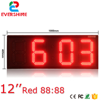 large outdoor digital clock temperature display 12 inch single red color 88:88 led time date sign