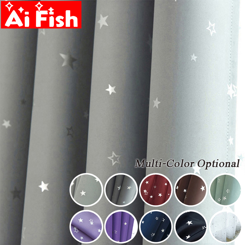 Cloth Curtains Blackout Bedroom Cortinas Living-Room Stars Girl Custom-Made Shiny Kids