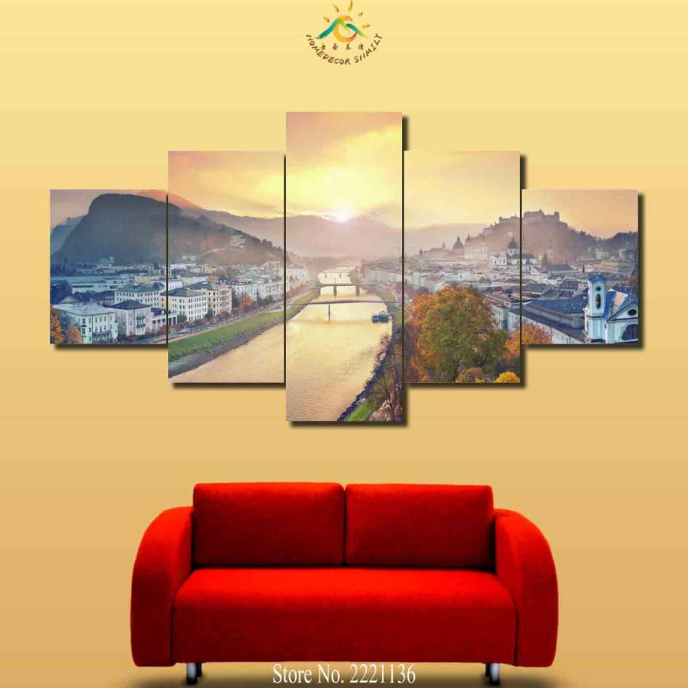 Colorful Country Canvas Wall Art Sketch - Wall Art Collections ...
