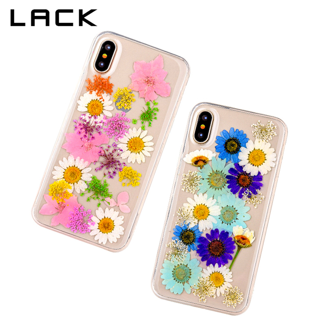 LACK Ultra Slim Clear Phone Case For iphone X Case Fashion Real Dried Flower Cases Lovley Floral Back Cover For iphoneX Fundas