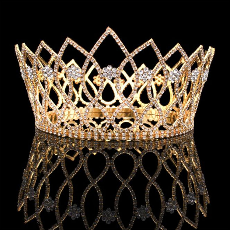 Baroque Queen King Crystal Bride Tiara Crown For Women Headdress Bridal Wedding Tiaras Crowns With Combs Hair Accessories
