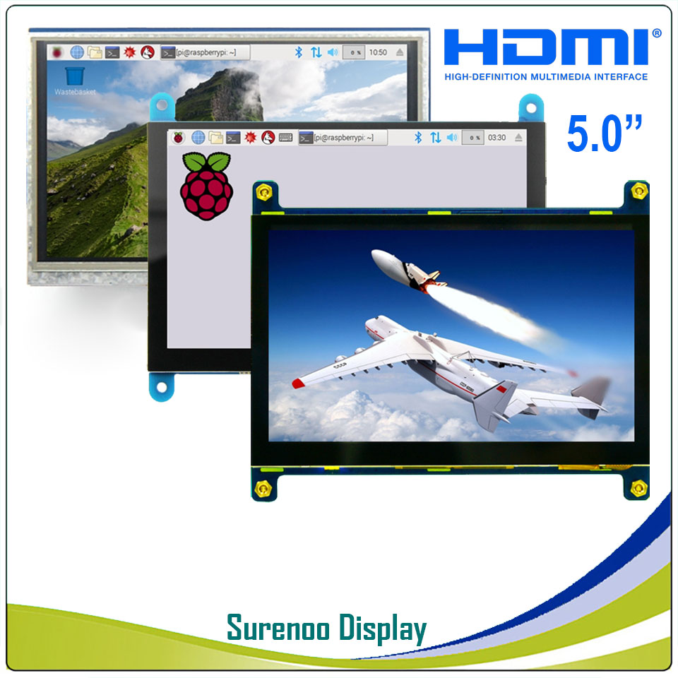 5 5.0 inch 800*480 Resistive / Capacitive Touch Panel HDMI TFT LCD Module Screen Display Minitor for Raspberry Pi