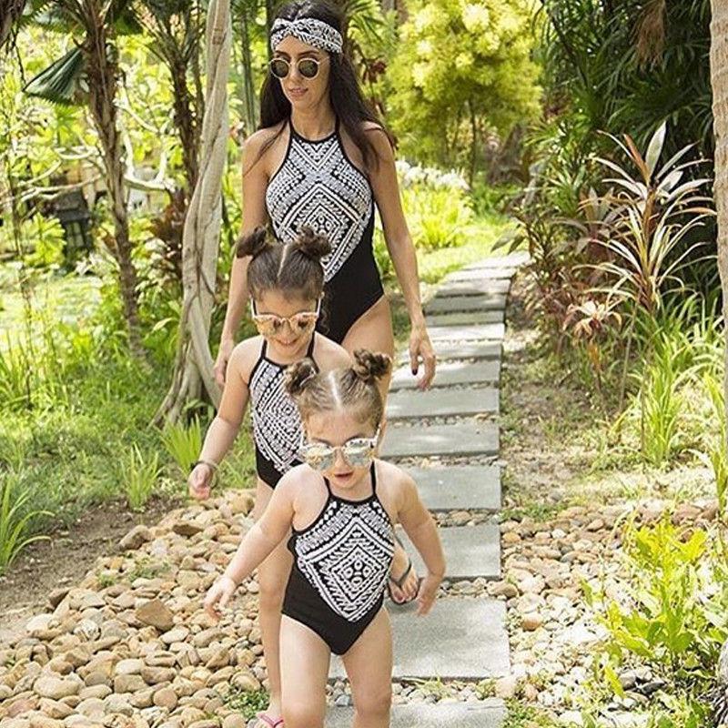 Matching mother daughter summer geometric swimwear