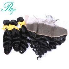 Brazilian Loose Wave 3 Bundles with Lace Frontal Closure Human Hair Bundles with Closure Riya Hair Weave Remy Hair