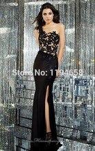 2014 neue Ankunft Mode eine Schulter schwarz Spitze Appliqued Satin Meerjungfrau Frauen Lange Abendkleider bodenlangen 6158