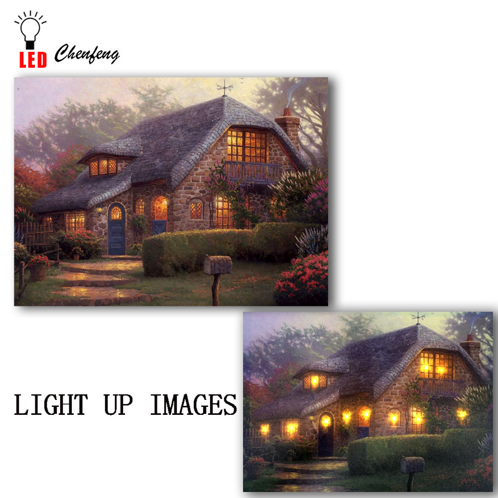 Canvas Print Artwork Led Wall Decor Flower Cottages With Light Picture Oil Painting For Home Decorative Christmas New Year Gift Demand Exceeding Supply Home Decor