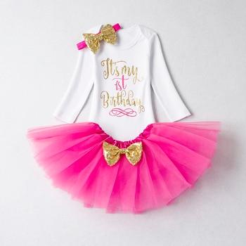 40acd742b Ropa de cumpleaños para niña vestidos 1 año de manga larga tutú diadema  bautismo vestido de fiesta infantil primer disfraz de bautizo vestidos