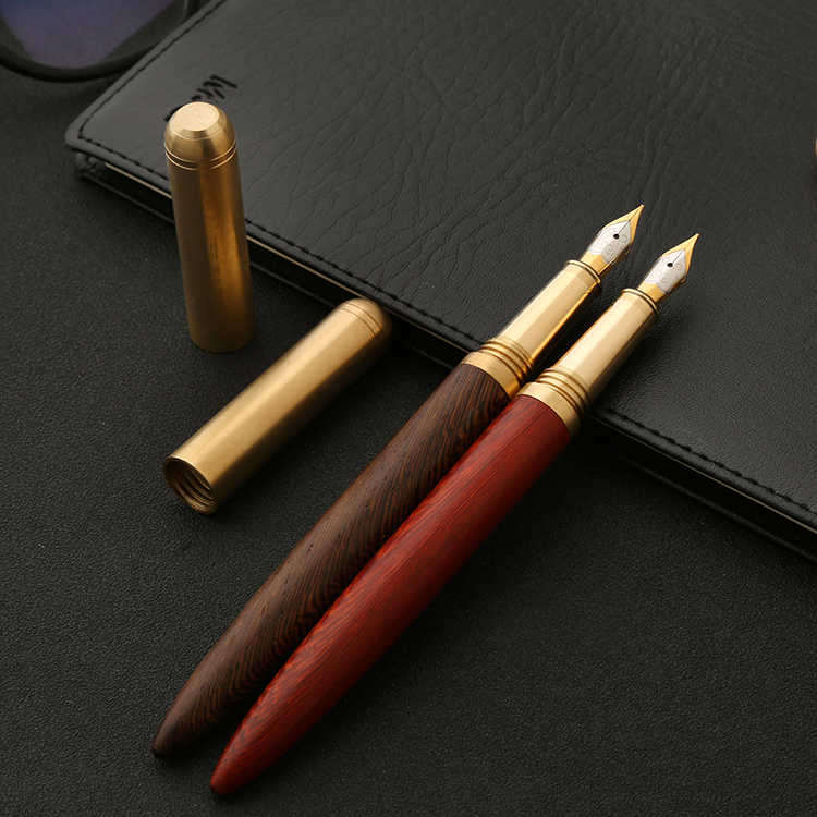 luxurious quality brass Red wood Pear Rosewood golden Iridium classic fountain pen