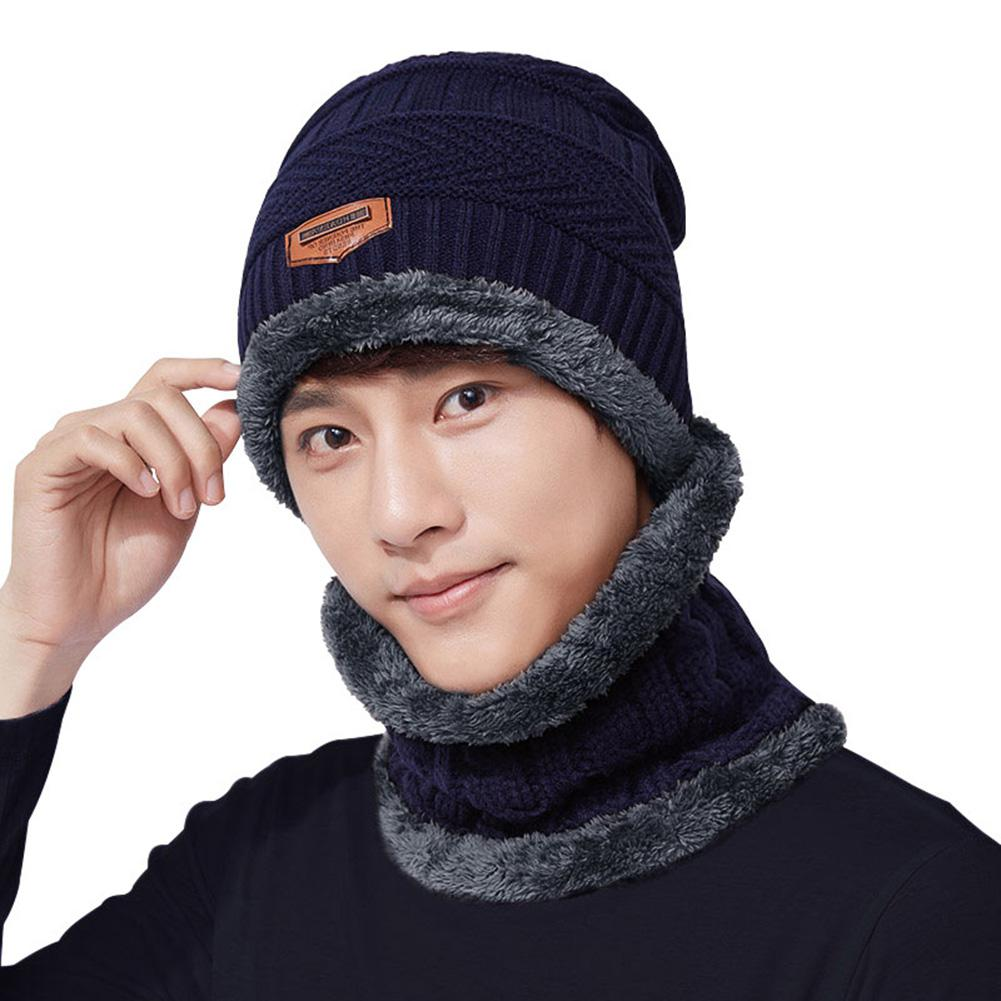 MISSKY 2PCS/Set Men Hat + Neck Gaiter Hat Collar Suit Knitted Cap Neck-Warmer