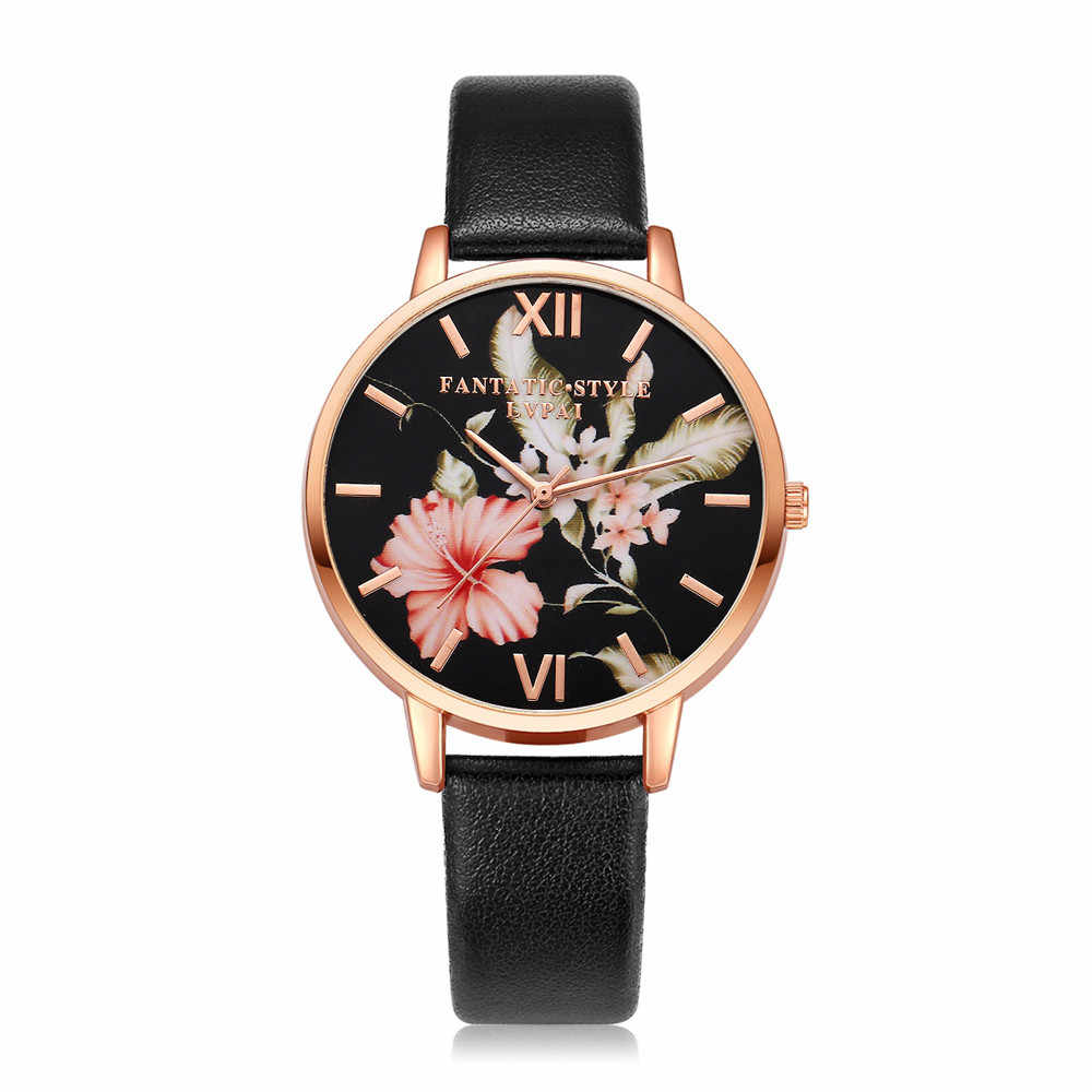 Lvpai Wanita Watch Pola Bunga Kulit PU Kuarsa Jam Tangan Tali Kulit Womens Watch Dress Gelang Montre Femme L58