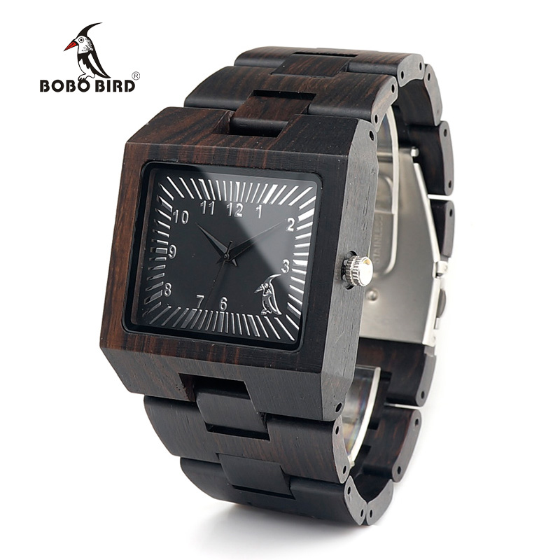 BOBO BIRD Ebony Trä Rektangel Quartz Armbandsur Man Top Luxury Band - Herrklockor - Foto 2