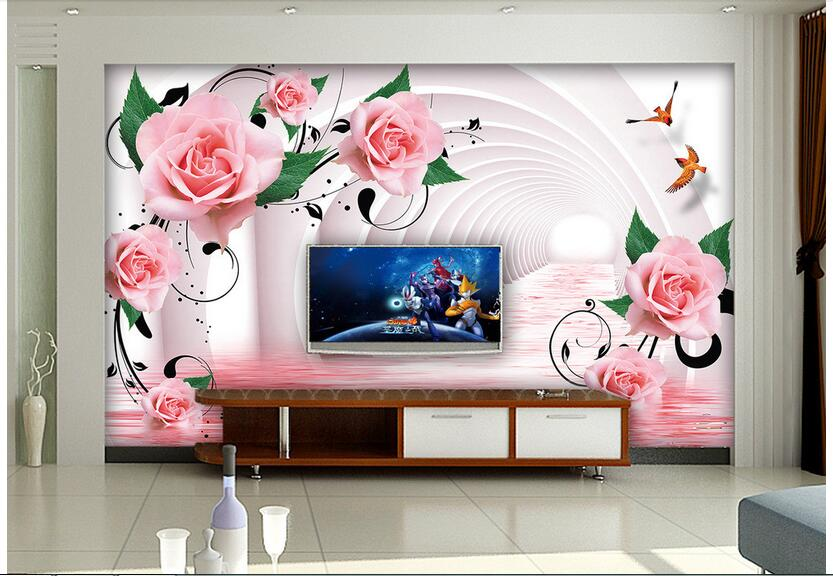 3d wallpaper custom photo non-woven mural wall sticker Rose reflection pipe arch painting 3d wall room murals wallpaper