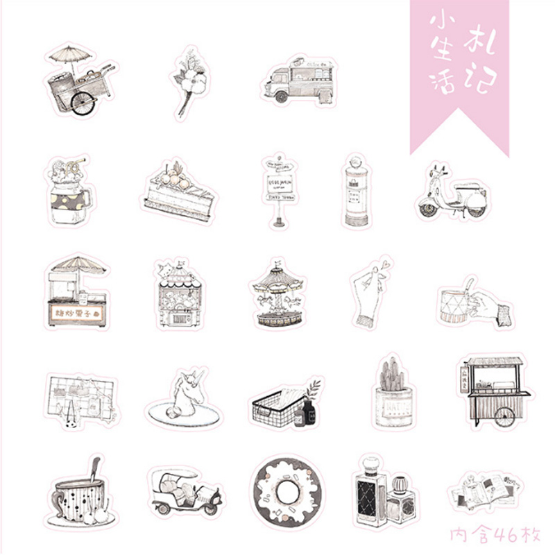 Купить с кэшбэком 46pcs/pack Cute Small life notes Sealing Stickers Diary Label Stickers Pack Decorative Scrapbooking DIY Student Label stationery