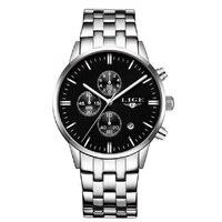 LIGE Мужские кварцевые часы Топ люксовый бренд многофункциональный военный хронограф часы стальной ремень водонепроницаемые повседневные м