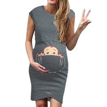 Summer Maternity Dresses Nursing Breastfeeding Clothes For Pregnant Women Sleeveless Cartoon Cute Funny Print Pregnancy Dress(China)