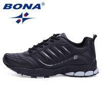 BONA Novo Estilo Mais Popular Men Running Shoes Athletic Shoes Homens Tênis para Caminhada Ao Ar Livre Confortável Para O Esporte Frete Grátis