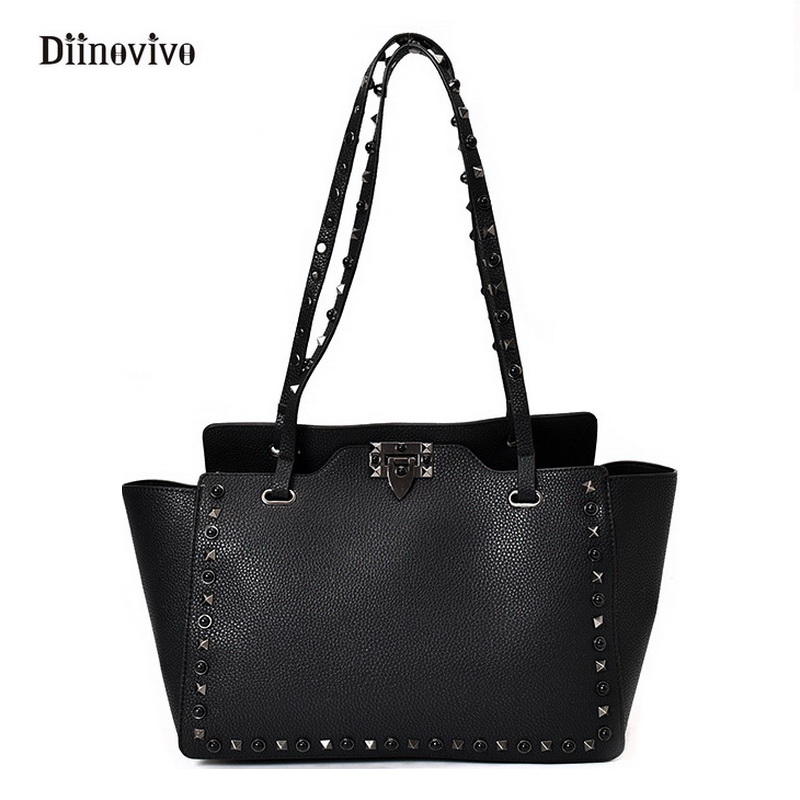 DIINOVIVO Rock Style Rivet Women Punk Bags Simple Brand Luxury Leather Ladies' Shoulder Bag Multifunction Composite Bag WHDV0165