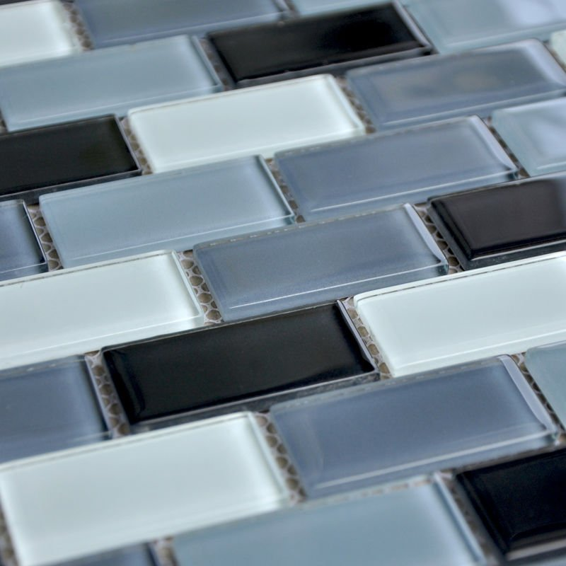 Crystal Glass Tile Mirror Sheets Strip Kitchen Backsplash Mosaic Black And White Tile Floors