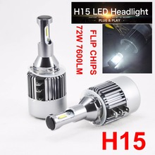 1 Set H15 Hi/Low Car LED Headlight 72W 7600LM Headlamps Bulbs 6K White Driving Daytime Running Light FOR Ford VW BMW Benz Audi