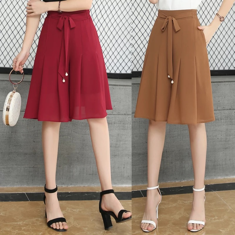 Women Chiffon Pleated Office Skirt 2018 New Summer Female Solid Lace Up Ruffles A-line Skirts Casual Loose High Waist   Shorts