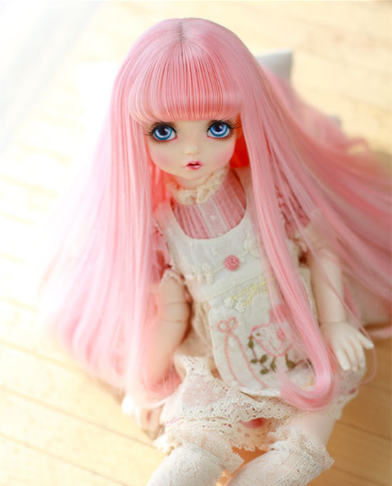 Doll wigs big pear curl hair with air bangs pink color High temperature wigs available for 1/6 1/4 1/3 BJD DD doll accessories фартук с полной запечаткой printio фартук розовые лотосы
