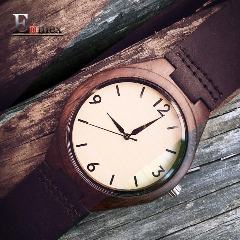 Prix pour 2017 vacances memorial day cadeau enmex le bon vieux jours en bois nostalgie montre-bracelet à la main pur naturel en cuir montres à quartz