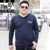 2017 new plus size big size  8XL 7XL 6XL 5XL 4XL New Autumn Winter Long Sleeve shirts Men 100% Cotton v-neck Long Tees LOOSE