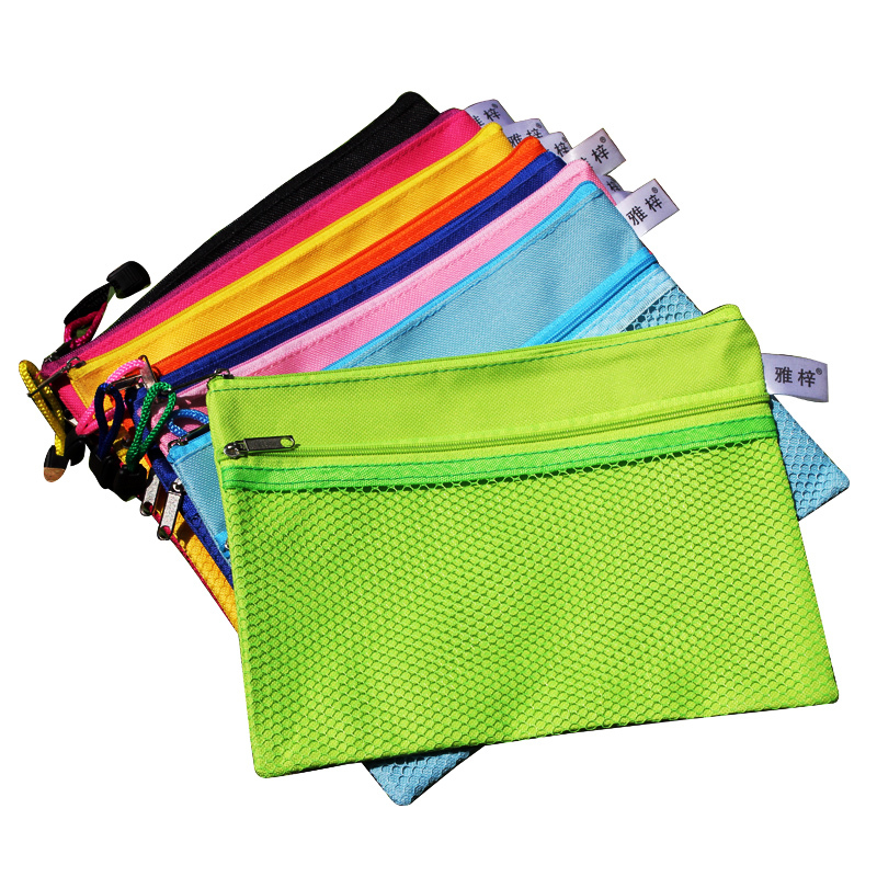 Polyester Colorful A5 Zipper Pouch, Bill Notes Mesh Small Bag For Office Stationery