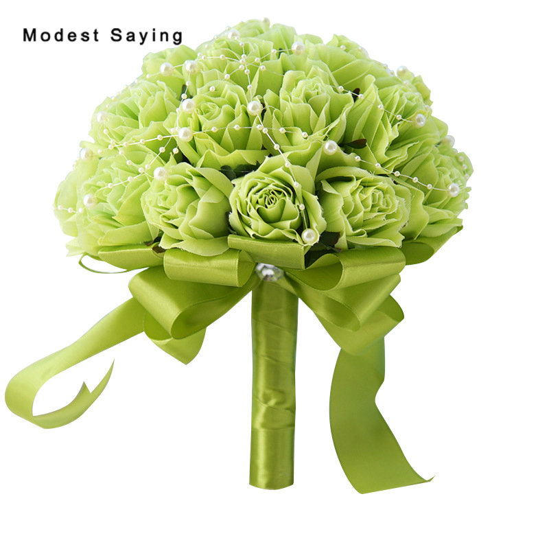 New Attival Green Artificial Flowers Pearls Wedding Bouquets 2018 with Satin Sash Women Bridesmaid Bouquet Wedding Accessories
