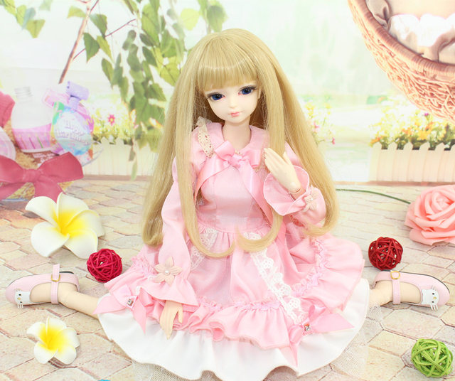 free shipping forturn days outfit only for 1/4 bjd 45cm doll pink dress sweet girl