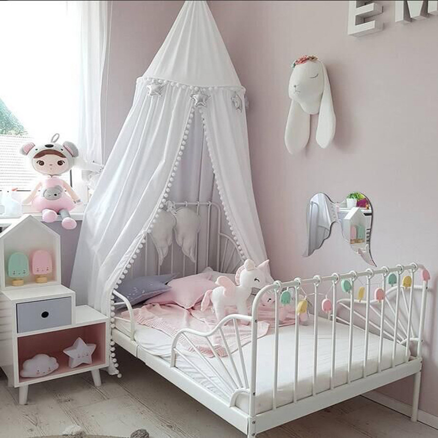 Cotton Crib Netting Baby Room Decoration Balls Mosquito Net Kids Bed Curtain Canopy Round Crib Netting Tent Photography Props nordic white lace girls princess dome canopy bed curtains round kids play tent room decoration baby bed hanging crib netting