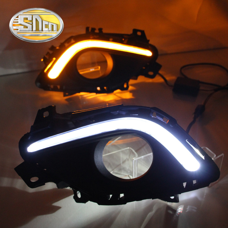 ФОТО With Auto Yellow Turning Function!!! Matte Black Cover 12V Car DRL LED Daytime Running Light Daylight For Mazda 6 2013 2014 2015