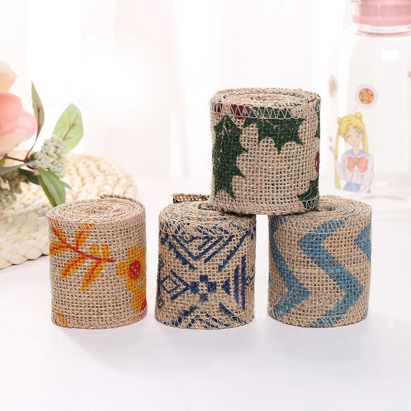 6cm Printed Linen roll Decorative Linen Roll DIY Handmade Lace Linen Roll Wedding Decoration Party Christmas Crafts Decorative