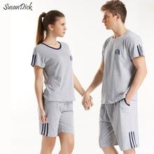 2017 Марка Пара пижамный комплект натуральный хлопок удобные мужские и женские пижамы короткий рукав Lover Повседневная сна футболка и шорты Комплект