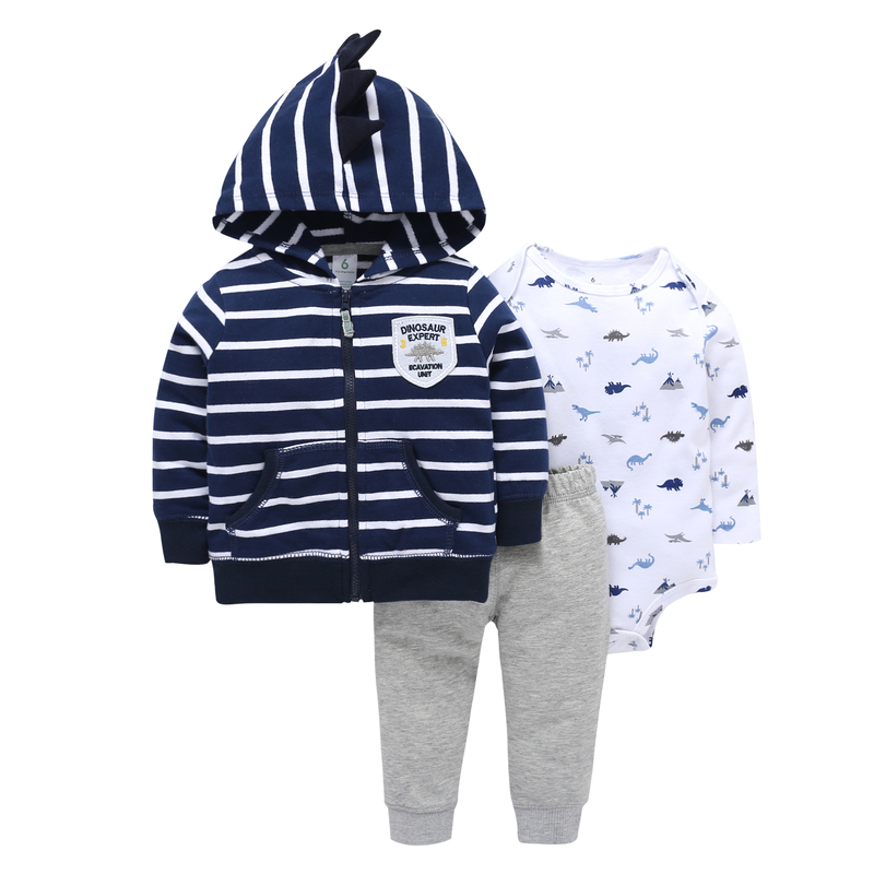 2019 autumn winter baby clothes cotton stripe coat+long sleeve romper+pants 3PCS baby boy tracksuit baby girl outfits