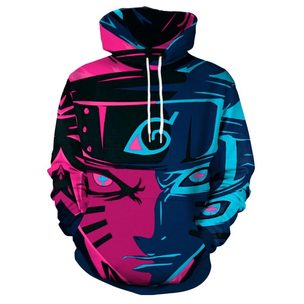Hoodies Anime Naruto Red Blue Hoodies with Hat Men Hoodie Loose Hooded Sweatshirt Sudaderas Para Hombre Streetwear