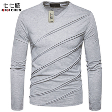 2017 Autumn New Fashion Ripped Pleated V neck Long Sleeve T shirt Men Slim Fit Solid
