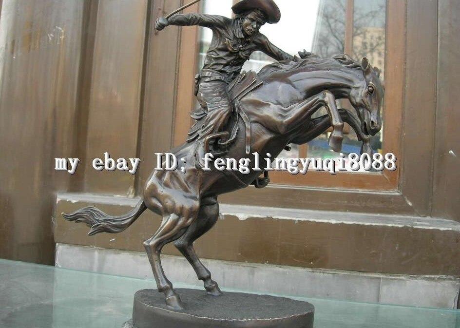 Western Art Bronze Cuivre et Marbre chevalier Tour Cheval statuaire