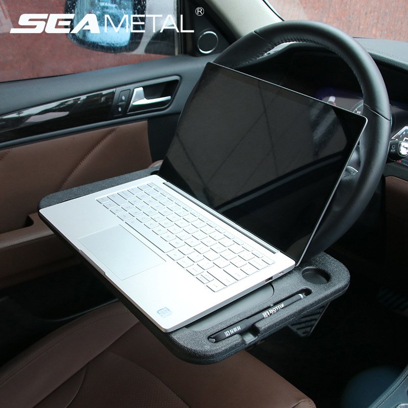 Car Laptop Desk Computer Table Stuck On Steering Wheel Universal Portable Work Drink Holder Seat Tray Stand In Auto Accessories