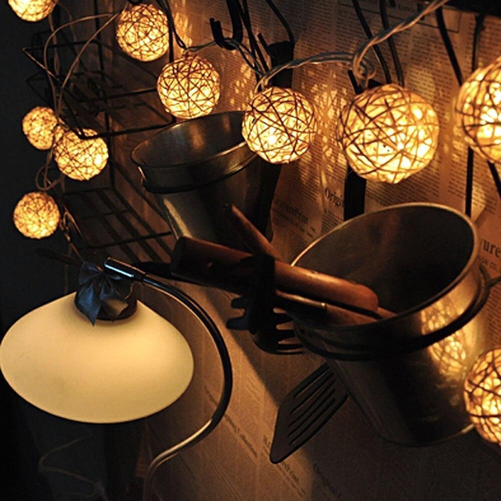 Milad Xmas üçün 20 LED İsti Ağ Rattan Top Simli Nağıl - Şənlik aksesuarları - Fotoqrafiya 2
