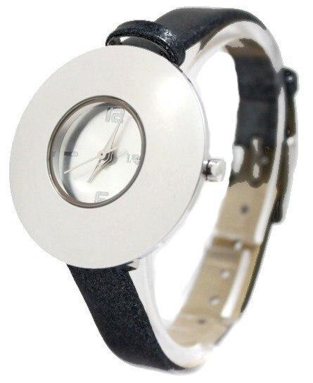 New Matt Silver Dial Round PNP Shiny Silver Watchcase Black Band Women Ladies Girls Voguish Fashion Watch FW541A