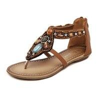 Sandals Women 2016 Summer Boho Flat Heel Black Brown Metallic Beads Rhinestone Bohemina Thong Cover Heel