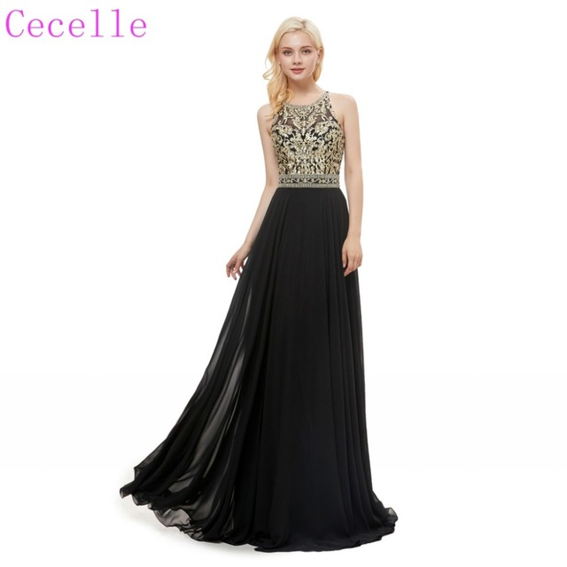 cfc49ed2490ba US $150.53 30% OFF|Black Gold A line Long Evening Dress 2019 Sleeveless  Corset Back Teens Formal Evening Gown-in Evening Dresses from Weddings & ...