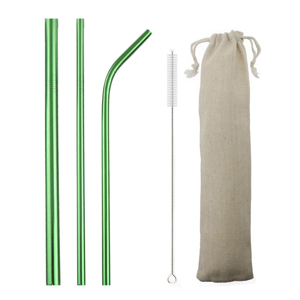 5-Pcs Eco Friendly Reusable Straws Set 304 Stainless Steel Straw Metal Smoothies Green Drinking Straws Set with Brush Pouch Bag image