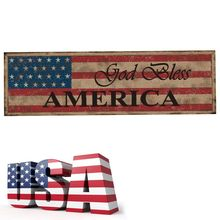 Rustic Wooden God Bless America Sign Plaque Independence Day Collection Gift Home Decoration