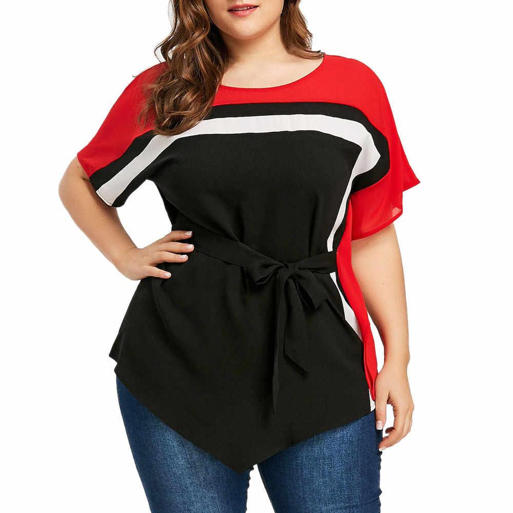 Kobiety bluzka Fashion Lady duży rozmiar Bat wyszywane rękawy talia pasmo luźne Casual bluzki bluzka Camisa Social Feminina # LR3