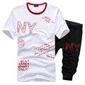 Футболка + шорты мужские летом с коротким рукавом О-Образным Вырезом спортивная наборы Новая мода мужчины бегуном дышащий мальчиков наборы